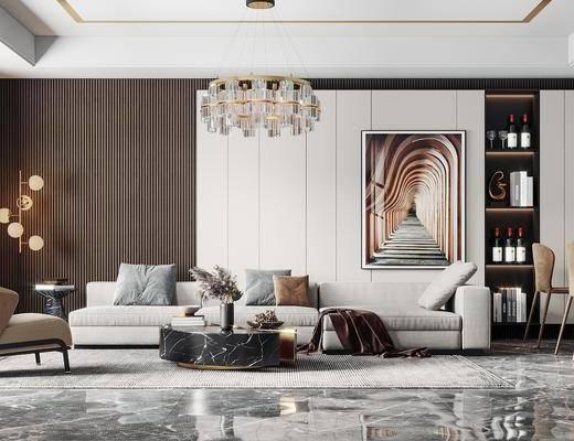 沙发组合, 吊灯, 茶几, 抱枕, 餐桌, 落地灯, 单椅