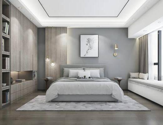 卧室, 现代卧室, 床具, 床头柜, 双人床, 吊灯, 壁灯, 挂画, 装饰画, 衣柜, 书籍, 摆件, 装饰品, 现代, 简约