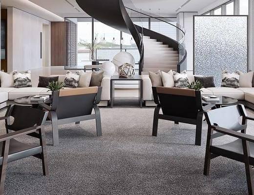 售楼处, 桌椅组合, 抱枕, 旋转楼梯