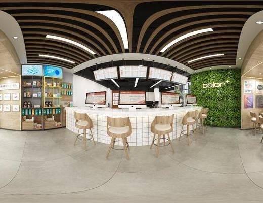 工装全景, 吧台吧椅, 单人椅, 植物墙, 绿植植物, 现代
