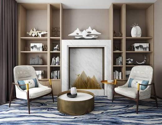 单椅, 休闲椅, 壁炉, 茶几, 置物柜