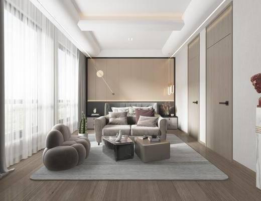 双人床, 卧室, 地毯, 床头柜, 装饰品