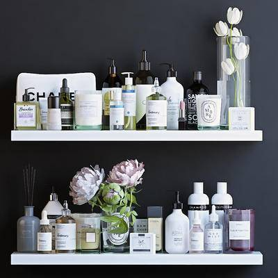 护肤品, 化妆品, 花卉, 摆件, 现代护肤品化妆品