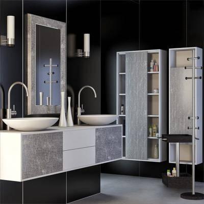 浴室, 浴柜, 洗手台, 浴镜, 壁灯, 衣帽架, 洗浴用品, 洗漱用品, 现代