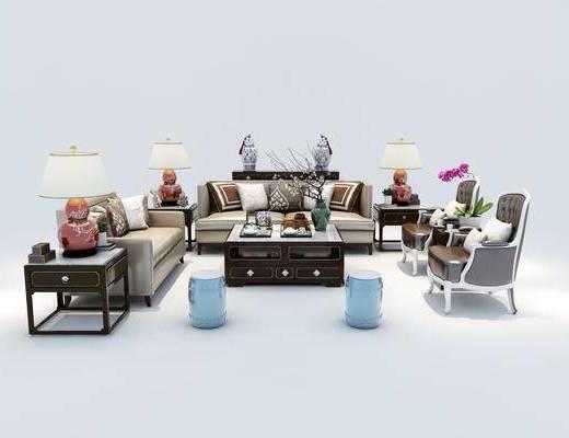 沙发组合, 多人沙发, 双人沙发, 茶几, 凳子, 单人沙发, 台灯, 边几, 摆件, 装饰品, 陈设品, 中式