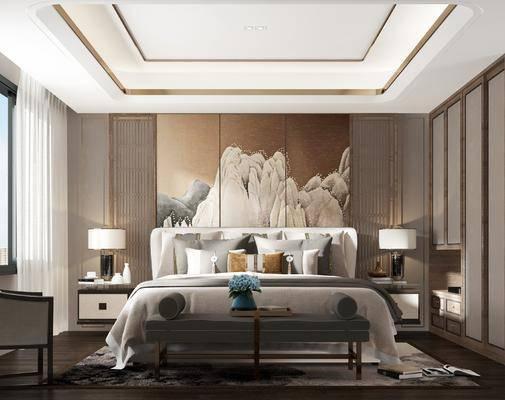 卧室, 双人床, ?#39184;?#26588;, 台灯, 单人沙发, 床尾凳, 衣柜, 新中式