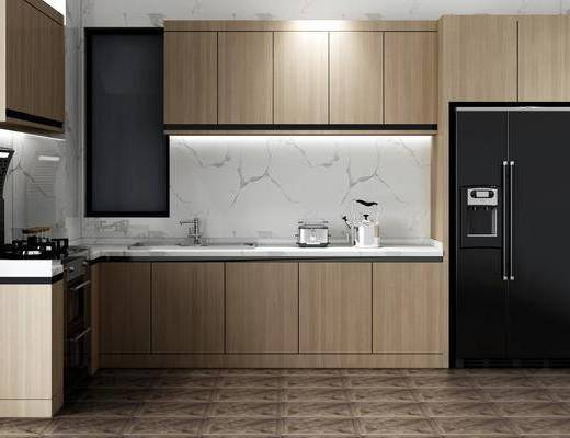 橱柜组合, 厨具组合, 冰箱组合, 现代