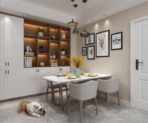 餐厅, 餐桌, 餐椅, 单人椅, 餐具, 装饰画, 挂画, 组合画, 吊灯, 宠物狗, 装饰柜, 摆件, 装饰品, 陈设品, 现代