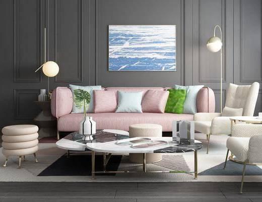 沙发组合, 多人沙发, 茶几, 单人沙发, 落地灯, 台灯, 边几, 凳子, 装饰画, 吊灯, 北欧