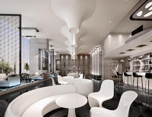 现代, 咖啡, 奶茶店, 多人沙发, 休闲椅, 灯具