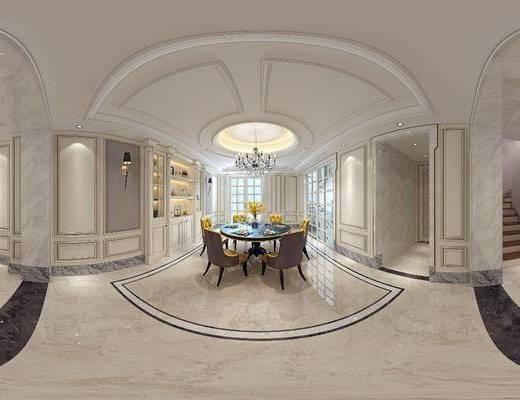 欧式客厅, 欧式餐厅, 客餐厅, 欧式沙发, 沙发组合, 沙发茶几组合