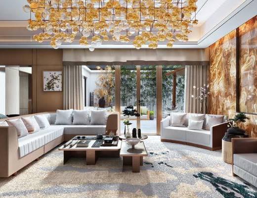 洽谈室, 客厅, 会客厅, 吊灯, 沙发, 现代沙发