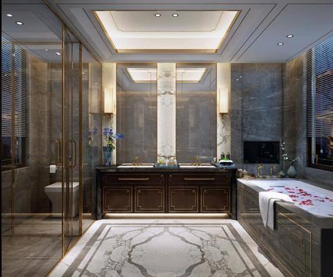 卫生间, 洗手台, 浴缸, 马桶, 摆件, 装饰品, 陈设品, 中式