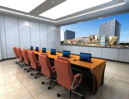 会议室, 指挥室, 会议桌, 单人椅, 办公椅, 现代