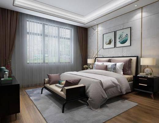 卧室, 双人床, 床头柜, 床尾凳, 台灯, 装饰画, 挂画, 电视柜, 装饰柜, 摆件, 装饰品, 陈设品, 新中式