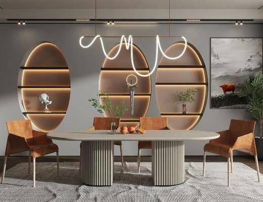 现代餐厅, 长餐桌, 餐椅, 异形吊灯