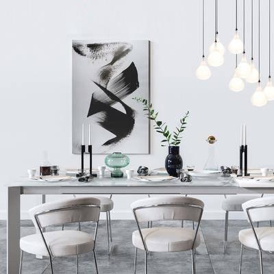 现代餐桌椅饰品模型组合, 现代, 餐桌椅, 椅子, 吊灯, 植物, 装饰画, 餐具