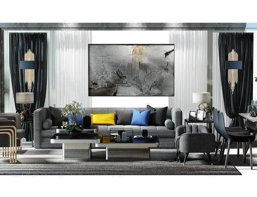 窗帘, 盆景, 植物, 椅子, 地毯, 沙发凳, 餐桌椅组合, 餐桌, 桌椅, 壁灯, 现代, 沙发组合, 多人沙发