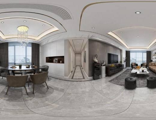 现代, 客厅, 餐厅, 沙发, 餐桌, 吊灯