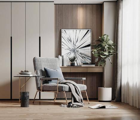 单椅, 边几, 休闲椅, 植物, 端景台