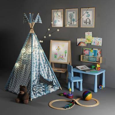 桌椅组合, 帐篷, 玩具, 吊灯
