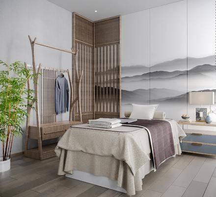 新中式spa包房, 按摩床