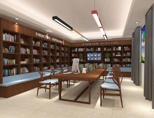 阅读室, 图书, 书籍, 桌子, 单人椅, 装饰柜, 电脑, 吊灯, 现代
