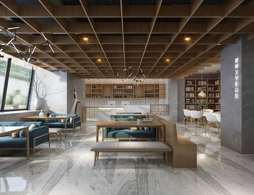 饮茶区, 图书馆, 书架, 书籍, 沙发组合