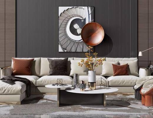 布艺沙发, 茶几组合, 地毯, 花瓶, 装饰挂画, 台灯, 边几