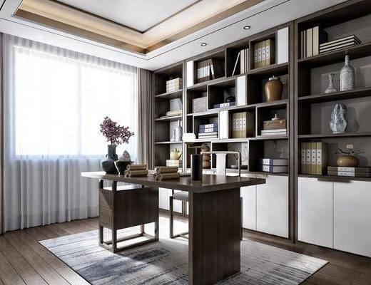 新中式, 書房, 桌椅組合