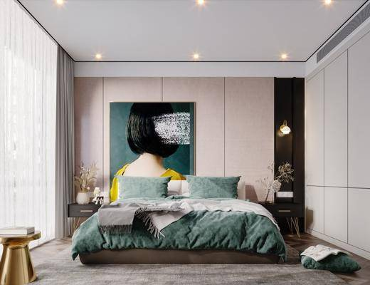 双人床, 床头柜, 装饰画, 植物, 落地灯
