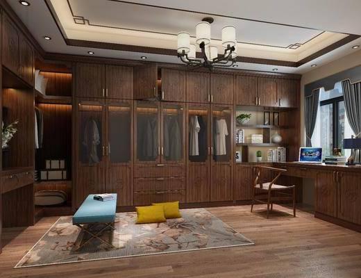 衣帽间, 衣柜, 服饰, 书桌, 单人椅, 台灯, 吊灯, 躺椅, 新中式