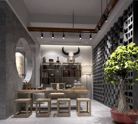 茶室, 中式茶室, 中式茶桌, 中式瓦片, 中式装饰柜, 盆景, 装饰品摆件