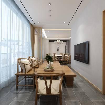 新中式茶室, 茶都, 餐桌椅组合, 新中式桌椅, 电视, 新中式吊灯, 新中式茶室全景