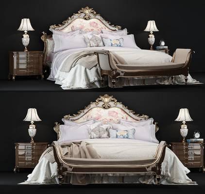 美式, 美式床, 美式床头柜, 美式台灯, 脚踏, 床品