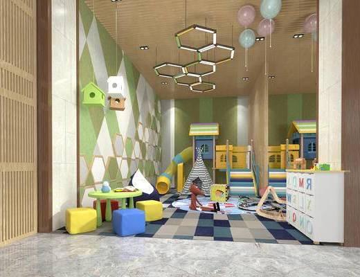 幼儿园活动室, 幼儿园娱乐室, 儿童吊灯, 儿童桌椅, 滑滑梯, 气球, 儿童书柜