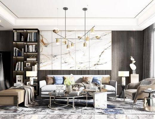 沙发, 茶几, 角几, 椅子, 床尾踏, 台灯, 吊灯, 挂画, 边几, 书柜
