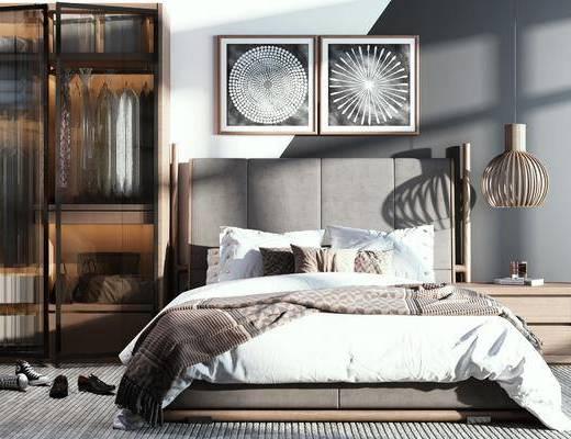 单人床, 床具组合, 装饰画, 床头柜, 吊灯