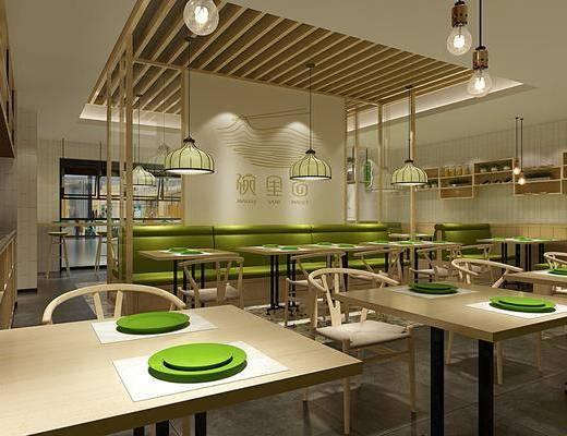 餐厅, 餐桌, 餐椅, 单人椅, 吊灯, 餐具, 卡座, 吧台, 吧椅, 置物架, 盆栽, 绿植植物, 现代