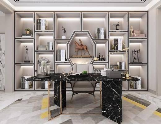 中式书房, 书桌, 书架