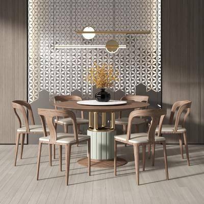 新中式实木餐桌椅, 桌椅组合