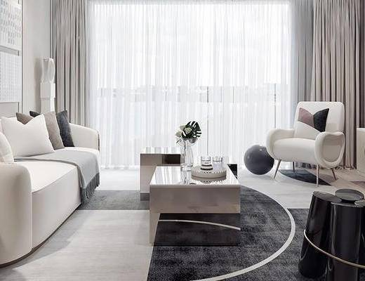 沙发组合, 茶几, 单椅, 电视柜, 摆件组合