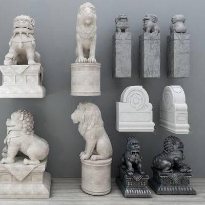 雕塑, 雕像, 石雕, 中式, 雕刻