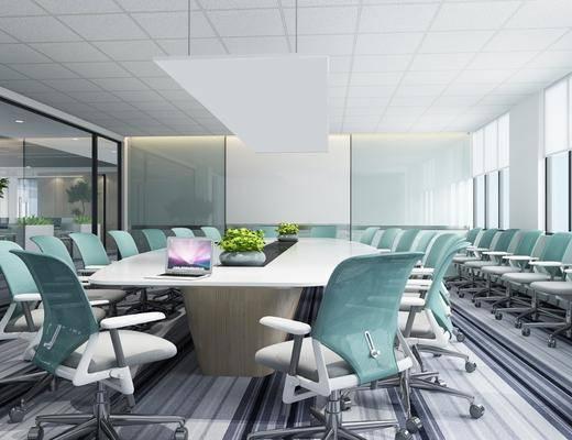 会议室, 会议桌, 办公椅, 办公桌, 单人椅, 盆栽绿植, 电脑, 现代