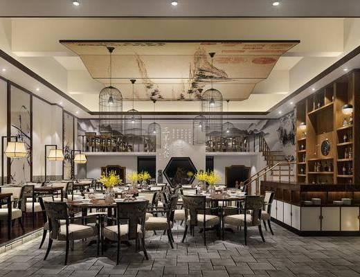 餐饮店面, 桌椅组合, 餐桌, 餐椅, 餐具, 单人椅, 吊灯, 落地灯, 花瓶, 干树枝, 中式