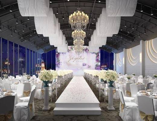 宴会厅, 餐桌, 餐椅, 单人椅, 吊灯, 摆件, 装饰品, 陈设品, 花瓶花卉, 现代