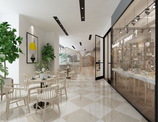 店铺, 书籍, 书桌, 绿植