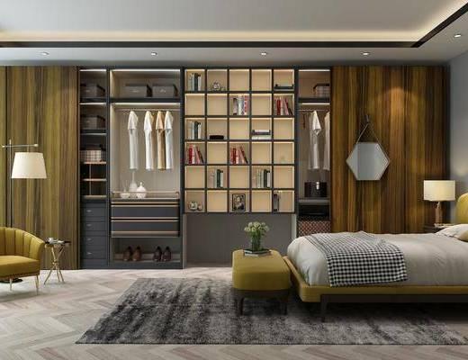 衣柜, 装饰柜, 双人床, 床尾凳, 服饰, 床头柜, 台灯, 落地灯, 单人沙发, 装饰品, 陈设品, 墙饰, 现代