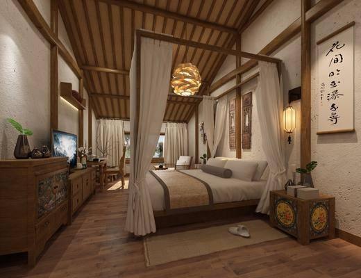 民宿卧室, 酒店客房, 双人床, 床头柜, 壁灯, 电视柜, 边柜, 吊灯, 书桌, 单人椅, 单人沙发, 花瓶, 干树枝, 新中式