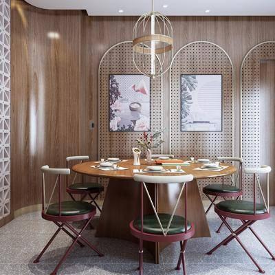 桌椅组合, 装饰画, 餐具组合, 吊灯